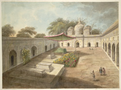 A coutyard of a Muslim shrine, with a mosque beyond